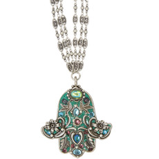 Michal Golan Green Hamsa Necklace - N2782