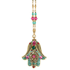 Michal Golan Magenta Hamsa Necklace