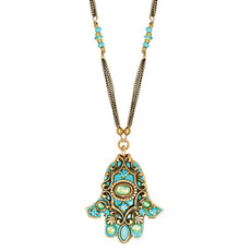 Evil Eye Blue Crystal Hamsa Necklace