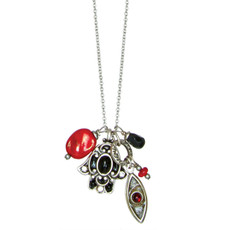 Michal Golan Black And Red Hamsa Necklace