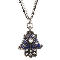 Evil Eye Cobalt Hamsa Necklace