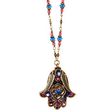 Michal Golan Blue Hamsa Necklace