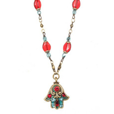 Michal Golan Red And Green Hamsa