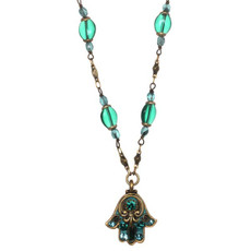 Michal Golan Small Green Hamsa Necklace