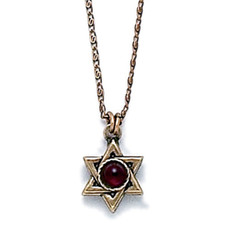 Garnet Centered Gold Star Of David