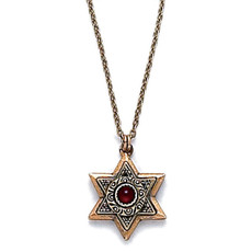 Gold Star Of David Pendant With Small Garnet Centered