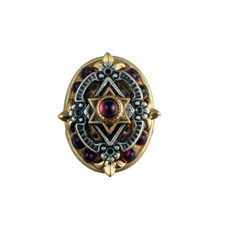 Oval Garnet Star Of David