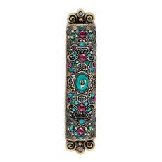 Purple and Turquoise Mezuzah