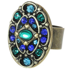Peacock Adjustable Ring From Michal Golan Jewelry