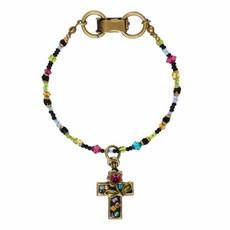 Michal Golan Pink Floral Cross Bracelet