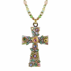 Michal Golan Pastel Floral Cross Necklace
