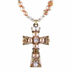 Cross necklace w/ Pearls by Michal Golan