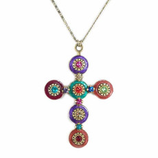 Multicolor Cross necklace by Michal Golan