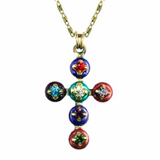 Large Cross Necklace Multicolor