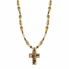 Small Earth Tones Cross Necklace