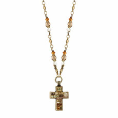 Michal Golan Beige Cross Necklace