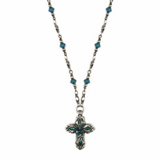 Michal Golan Blue Floral Cross Necklace