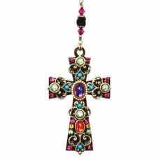 Multi Crystal Cross Necklace