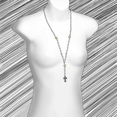 Multi Crystal Cross Long Necklace
