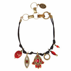 Michal Golan Red and Gray Hamsa Bracelet