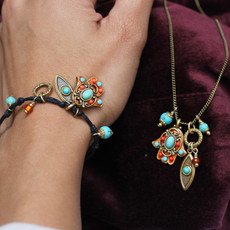 Michal Golan Red And Turquoise Hamsa Bracelet