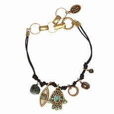 Green And Gray Hamsa Bracelet By Michal Golan