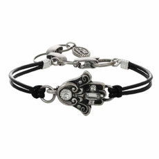 Michal Golan Black And Silver Hamsa Bracelet