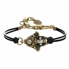 Michal Golan Black And Gold Hamsa Bracelet
