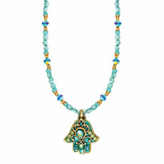 Michal Golan Green Crystal Hamsa