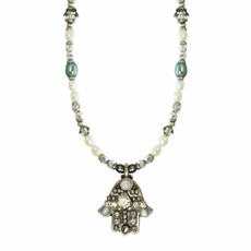 Michal Golan Beaded Chain Silver Hamsa