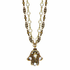 Hamsa Necklace w/ Small Crystal