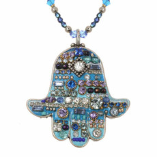 Multiblue Hamsa Necklace By Golan Jewelry