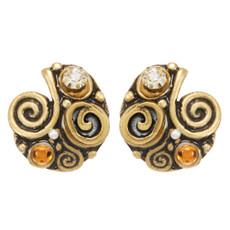 Orange Michal Golan Jewelry Half Swirl Earrings