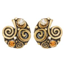 Orange Michal Golan Jewelry Half Swirl Earrings