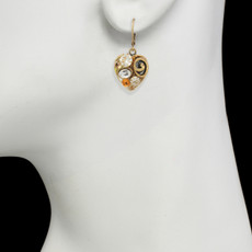 Michal Golan Jewelry Small Heart Leverback Orange Earrings - second image