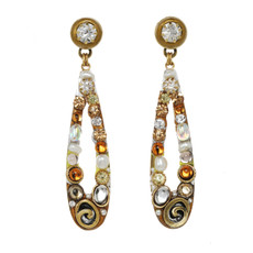 Orange Michal Golan Jewelry Long Open Teardrop Earrings