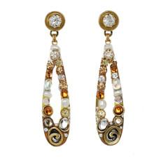 Orange Michal Golan Jewelry Long Open Teardrop Earrings