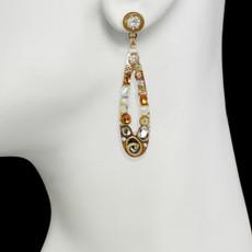 Orange Michal Golan Jewelry Long Open Teardrop Earrings - second image