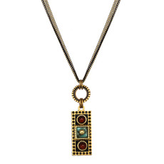 Michal Golan Earth Teal Long Bar Pendant Necklace