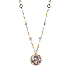 Michal Golan Jewelry Medium Round Pink Necklace