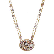 Pink Michal Golan Jewelry Large Oval Necklace