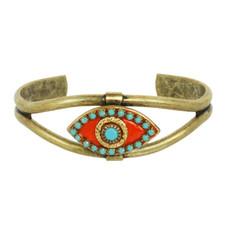 Michal Golan Evil Eye Teal Crystal Cuff Bracelet