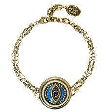 Michal Golan Jewelry Double Chain Round Evil Eye Blue Bracelet