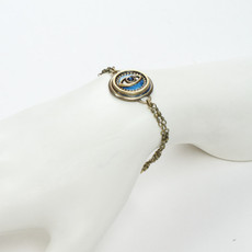 Michal Golan Jewelry Double Chain Round Evil Eye Blue Bracelet - second image