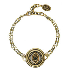 Silver Michal Golan Jewelry Double Chain Evil Eye Bracelet