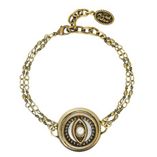 Michal Golan Evil Eye Gold Double Chain Bracelet