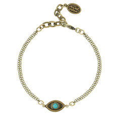 Michal Golan Evil Eye Gold Evil Eye with Turquoise Center Bracelet