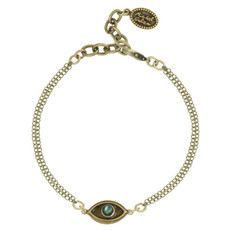 Michal Golan Jewelry Evil Eye with Abalone Center Gold Bracelet