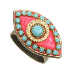 Pink Evil Eye with Teal Center ring from Michal Golan Jewelry