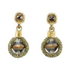 Bronze Bead Nouveau Glam earrings from Anat Jewelry